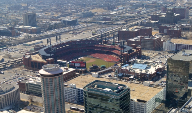 A view from the Arch of Busch stadium